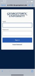 Image showing the Georgetown NetID and password login screen