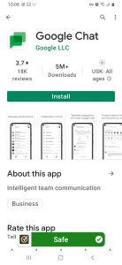 Image showing the Google Chat app on the Play Store