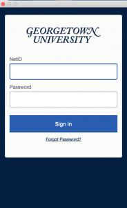 Image showing the Georgetown NetID & password login screen