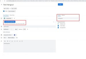 Image highlighting the option to join with Google Meet in Google calendar