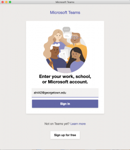 Image showing the option to login with an email address for using Microsoft Teams
