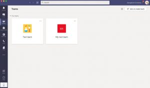Image showing the initial screen in Microsoft Teams