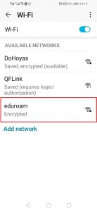 Image highlighting the eduroam connection in the Wi-Fi settings