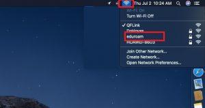 Image highlighting the eduroam network in the WiFi dropdown on Mac
