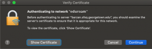 Image showing the Mac verify certificate screen when connecting to the Eduroam network