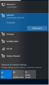 Image showing the Wifi in a connected state on Windows 10