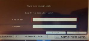 Image showing the screen to register the GU-Q id card on the printer