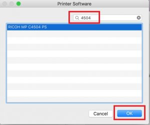 Image highlighting the search term to be entered when adding a printer on a Mac