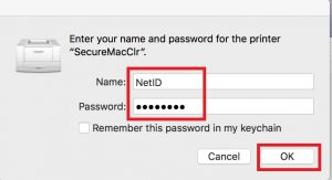 Image highlighting the username and password fields that must be entered when connecting to the printer on a Mac