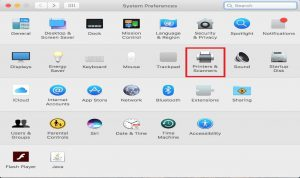 Image highlighting the printers and scanners setting in the system preferences on Mac