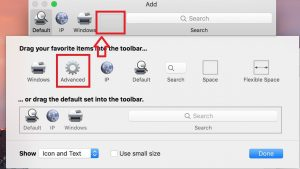 Image highlighting the advanced button that needs to be dragged onto the toolbar for the add printer screen on a Mac