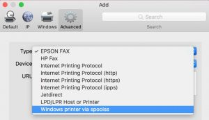 Image showing the Windows printer via spools type that needs to be selected to add the printer