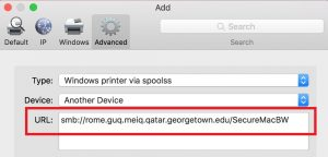 Image highlighting the URL of the printer to be added on the add printer screen on a Mac