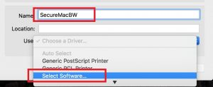 Image highlighting the name and the select software option when adding a printer on a Mac