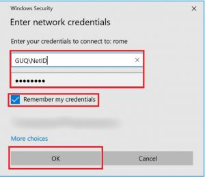 Image showing the screen to enter the network credentials