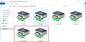 Image highlighting the printers available when connected to the network drive successfully