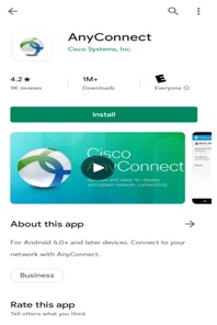 Image showing the Cisco VPN app in the Google Play Store