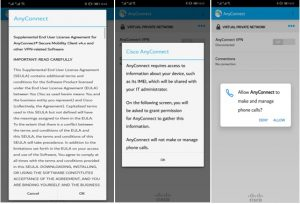 Image showing the process of initial setup of the Cisco VPN app on Android