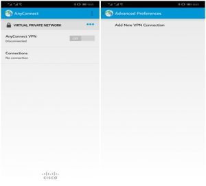 Image showing the process of setting up the Cisco VPN app on Android