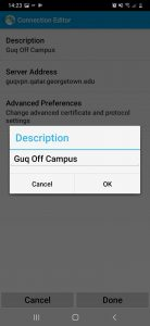 Image showing the description of the VPN setting of the Cisco VPN app on Android