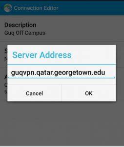 Image showing the server address of the Cisco VPN app on Android