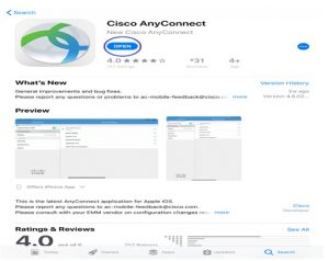 Image showing the Cisco VPN app in the Apple App Store