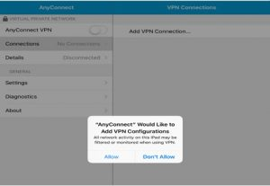 Image showing the Cisco VPN app asking to add the configurations on iOS and iPadOS