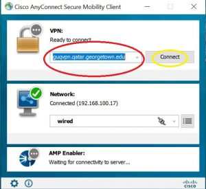 Image highlighting the location to enter the VPN address